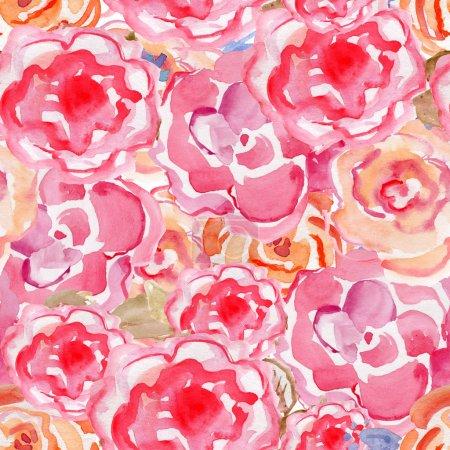 Rose flowers in watercolor paintings.