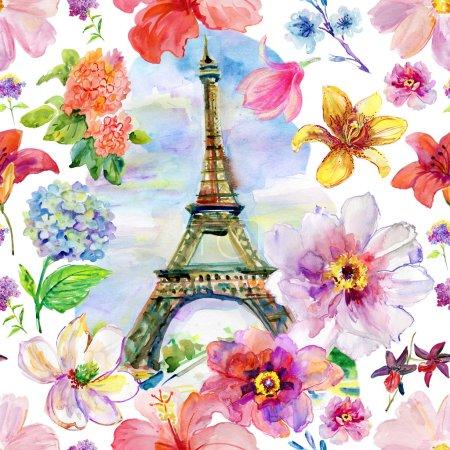 watercolor Paris in blossoming