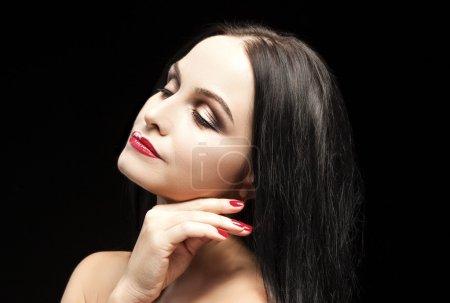 Beauty Concept. Natural Portrait of Positive Caucasian Brunette Woman Posing Against Black