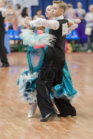 Unidentified Dance Couple Performs Juvenile-1 Standard European Program on National Championship of the Republic of Belarus