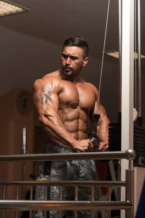 Photo for Mexican Bodybuilder Doing Heavy Weight Exercise For Triceps - Royalty Free Image