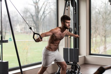 Photo for Handsome Man Is Working On His Chest With Cable Crossover In A Modern Gym - Royalty Free Image