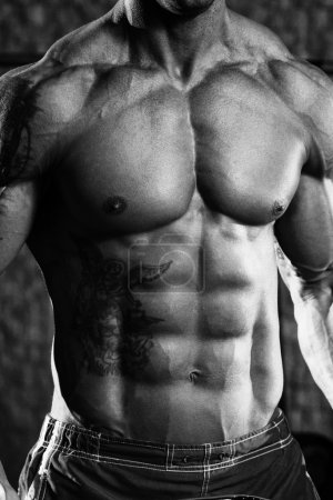 Photo for Close Up Of A Perfect Abs - Black And White Photo - Royalty Free Image