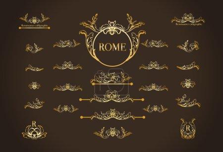 Photo pour Ensemble vectoriel d'éléments de conception calligraphique, décor de page, diviseurs et coiffures ornées. Calligraphie à Rome . - image libre de droit
