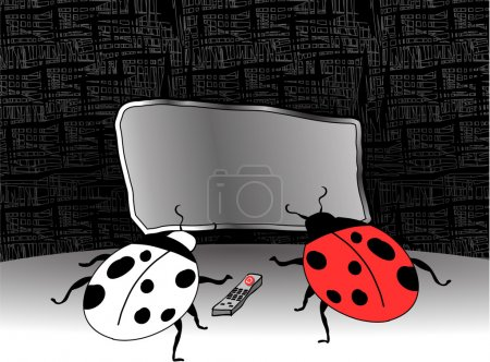 Ladybugs watching TV
