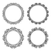 Set of black round and circular decorative frames for design frameworks and banners Vintage style