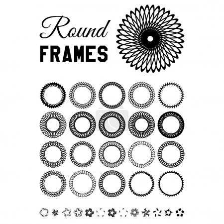 Set of round and circular decorative frame