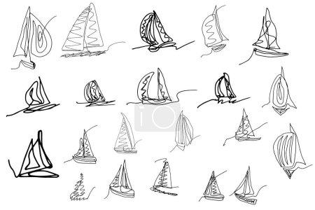 Illustration pour Un ensemble d'images de yachts, voiliers dessinés à la main dans un style simple. Illustration vectorielle. Image monochrome. - image libre de droit