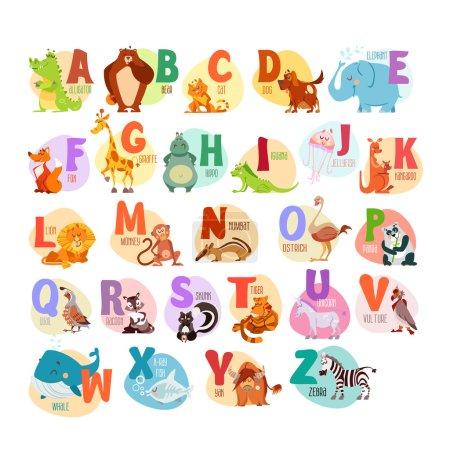 Photo pour Alphabet animaux de dessin animé mignon pour l'éducation des enfants. Illustrations vectorielles - image libre de droit