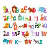alphabet with funny cartoon animals