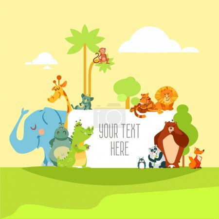 Illustration for Set of cute cartoon wild animals standing in front of signboard with place for text. Design template for banner or poster. Vector illustration - Royalty Free Image