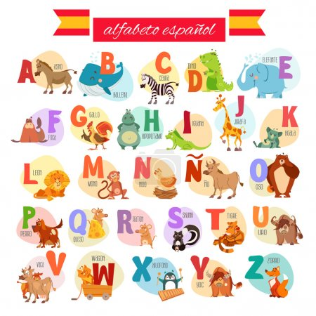 Illustration for Cute cartoon spanish illustrated alphabet with animals. Alfabeto espanol. Vector illustration - Royalty Free Image