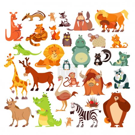 Illustration for Great set of cartoon animals, birds from around the world. African animals,forest animals as signs,icons,design elements.Vector illustrations isolated on white background. Education, kid design - Royalty Free Image