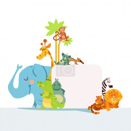 Illustration for Set of cute african animals standing as frame for your text. Design template for poster or banner. Zoo animals with signboard isolated on white background. Vector illustration - Royalty Free Image