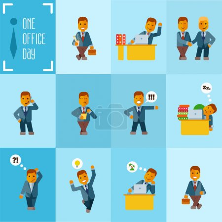 Illustration for Cute cartoon businessmen at office during  working day. Vector illustration in flat style - Royalty Free Image