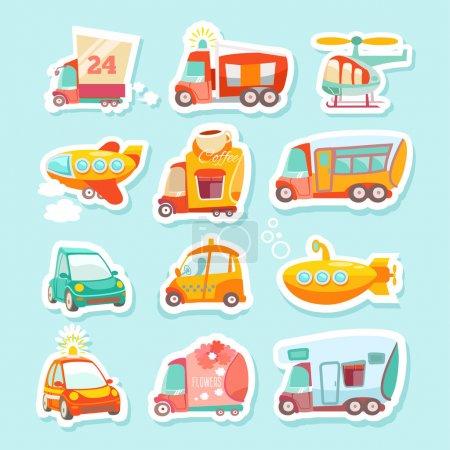 Illustration pour Stickers mignon, kawaii ensemble de transport de dessin animé. Convient dans la conception pour les enfants. Illustration vectorielle en couleurs vives - image libre de droit