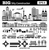 Big set with city elements to make your own city Vector black and white monochrome illustrations isolated on white background