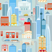 Big city cartoon seamless pattern with various houses skyscrapers cars Vector flat illustration Urban background for your design