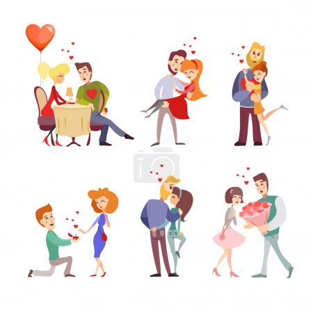 Set of happy cartoon couples