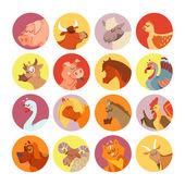 cartoon farm animals and birds