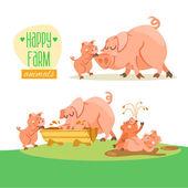 Cute happy pig family