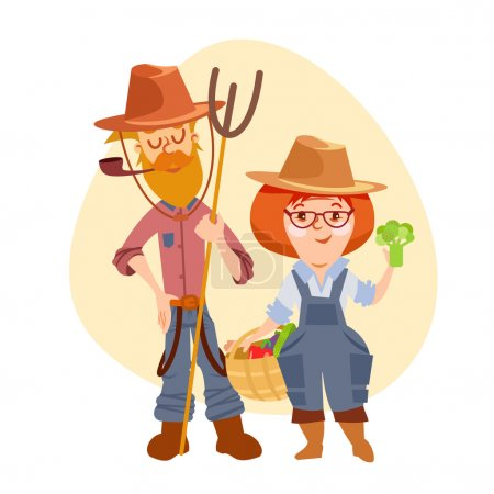 Couple of cute cartoon farmers