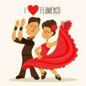 Cartoon couple of spanish flamenco dancers Vector illustration in vintage style