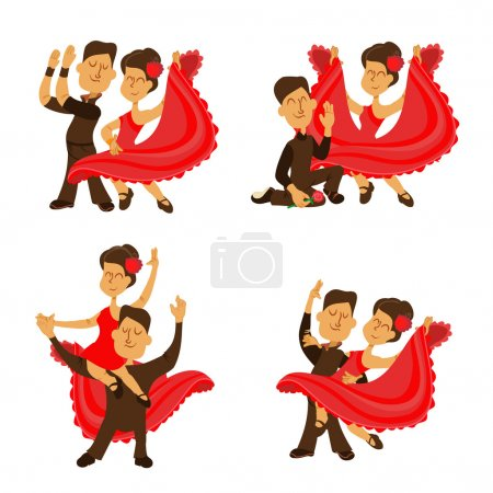 Cartoon couple of spanish flamenco dancers. Vector...