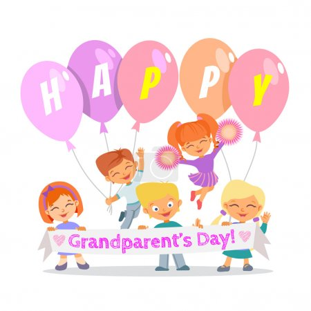 Illustration for Group of cute cartoon children celebrating grandparents day.Happy grandparents day. Vector illustration - Royalty Free Image