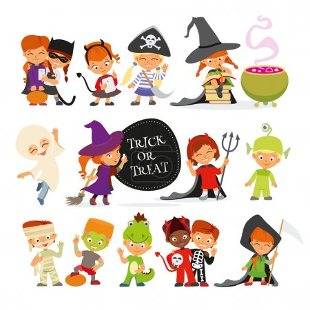 children in colorful halloween costumes
