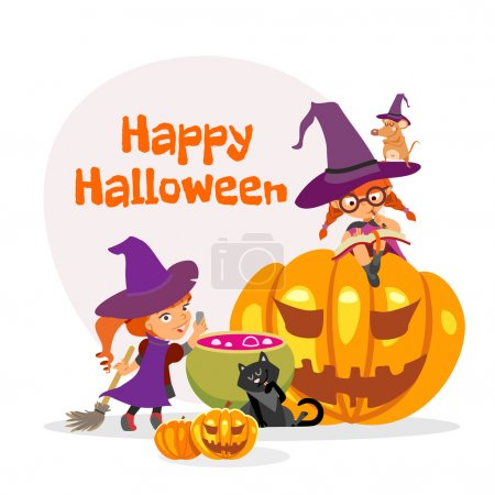 Illustration for Cute cartoon happy halloween design template with two little girls in witch costumes in front of witch cauldron. Vector illustration - Royalty Free Image