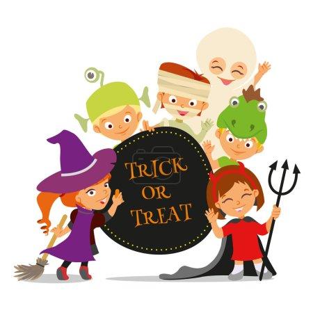 Illustration pour Trucs ou friandises. Bannière d'Halloween heureuse avec des enfants de dessin animé mignons en costumes colorés.Illustration vectorielle - image libre de droit