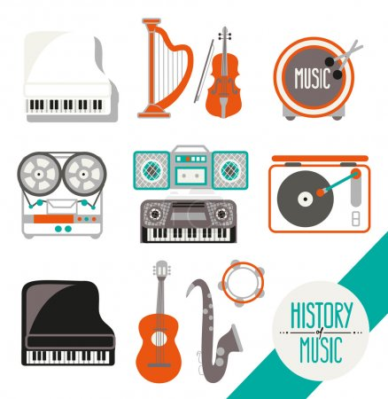 retro music icon set