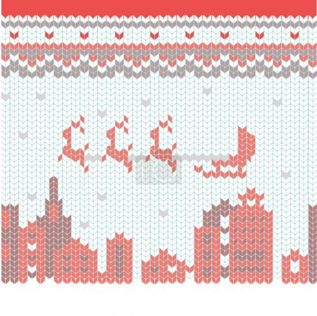 Knitted Merry Christmas pattern.