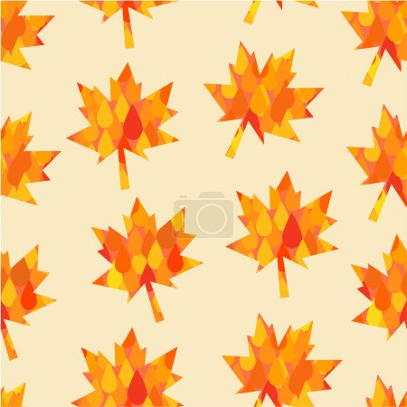 pattern with abstract autumn foliage