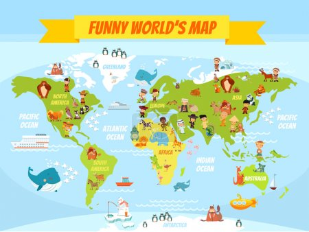 Illustration for Funny cartoon world map with people of various nationalities and animals. Vector illustration for preschool education and kids design - Royalty Free Image