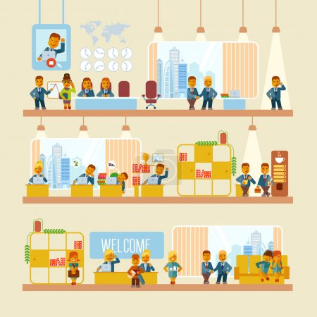 Illustration for Cartoon businessmen at office and their typical activities during one working day. Scenes from office life. Vector illustration in flat style isolated on white background - Royalty Free Image