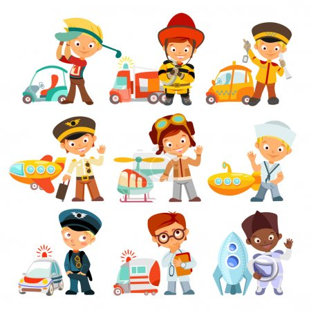 kids in various professions with vehicles
