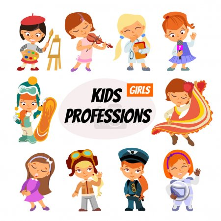 cartoon children in professions