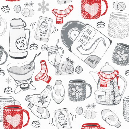 Winter seamless hand drawn pattern