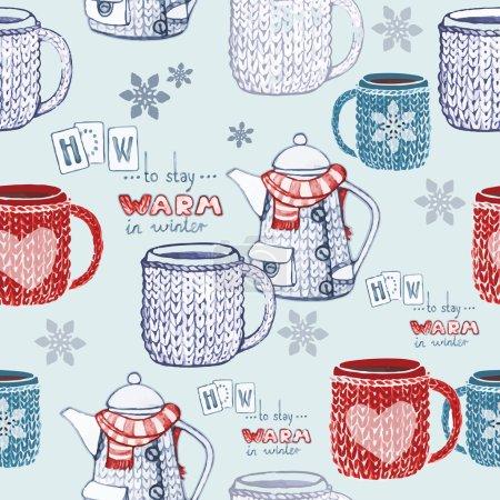 Seamless hand drawn tea pattern
