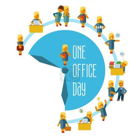 Cute cartoon businesswomen at office