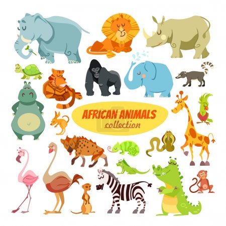 Illustration for Big set of cartoon safari animals and birds: elephant, lion, rhino, turtle, tiger, gorilla, hippo, giraffe, ostrich, flamingo, alligator, zebra, monkey. Icon set isolated on white - Royalty Free Image