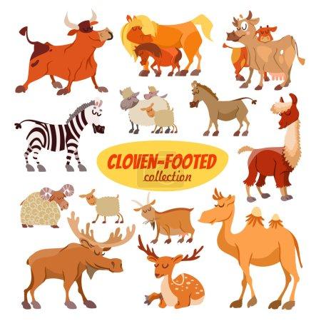 Illustration for Big set of cartoon cloven footed animals: bull, horses, cows, zebra, sheep, donkey, lama, goat, camel, moose, deer. Icon set isolated on white - Royalty Free Image