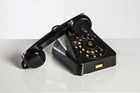 Black Phone, Old black telephone isolated on white