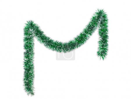 Photo for Christmas green tinsel. Isolated on a white background. - Royalty Free Image