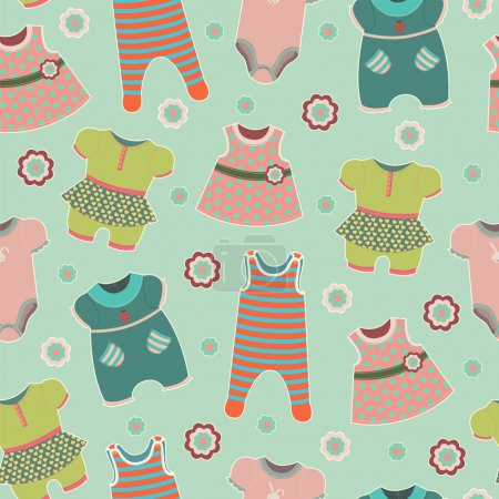 Seamless pattern with clothes for babies.