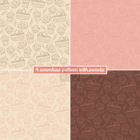 Collection of seamless vector pattern with muffins...