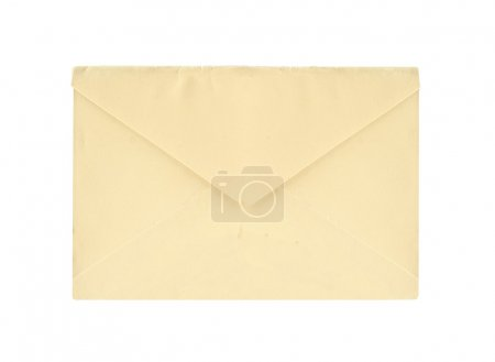 brown envelope with card  isolated on white background