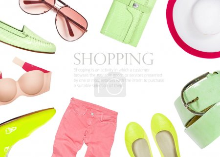 Collection of summer clothes isolated on white background